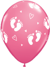 Baby Footprints Girl (Rose 6pc) - 11 Inch Balloons